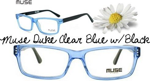 d8b8d716d11 The Muse Duke Clear Blue w Black is a stylish and sophisticated pair of  eyeglasses. The face of the frame frame is made of a clear baby blue  plastic and ...