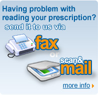 Send us your prescription via fax or mail